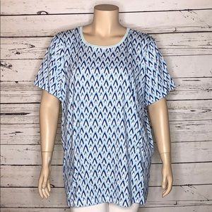 Woman Within 3X 30/32 Blue Print Knit Top T-Shirt
